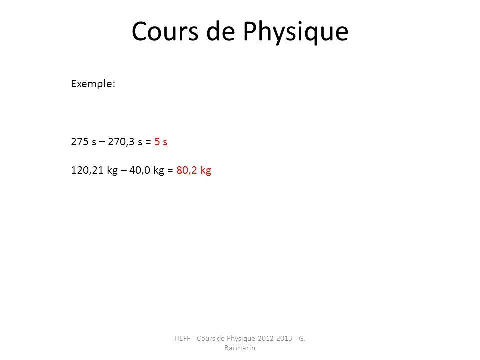 HEFF - Cours de Physique 2012-2013 - G. Barmarin