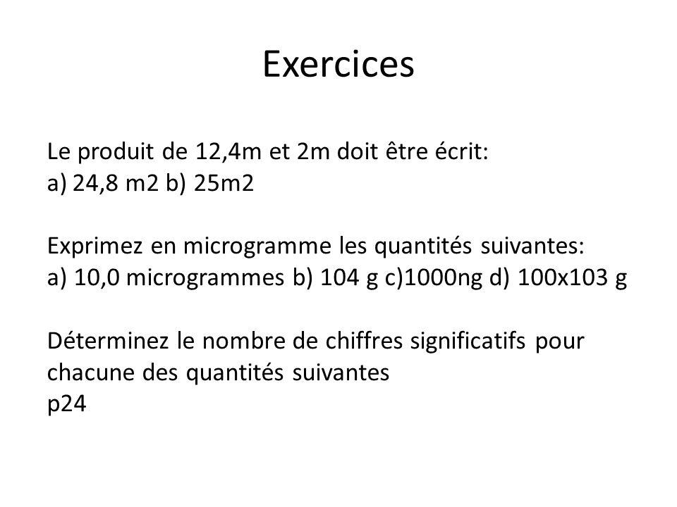 Exercices Le produit de 12,4m et 2m doit être écrit: 24,8 m2 b) 25m2