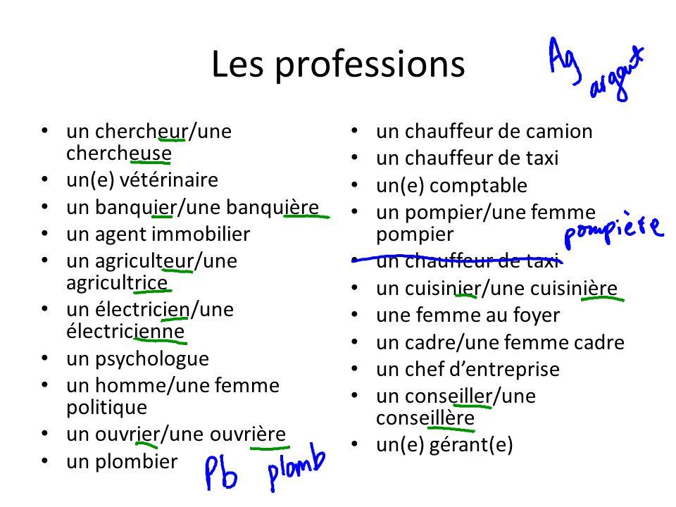 Les professions un chercheur/une chercheuse un(e) vétérinaire