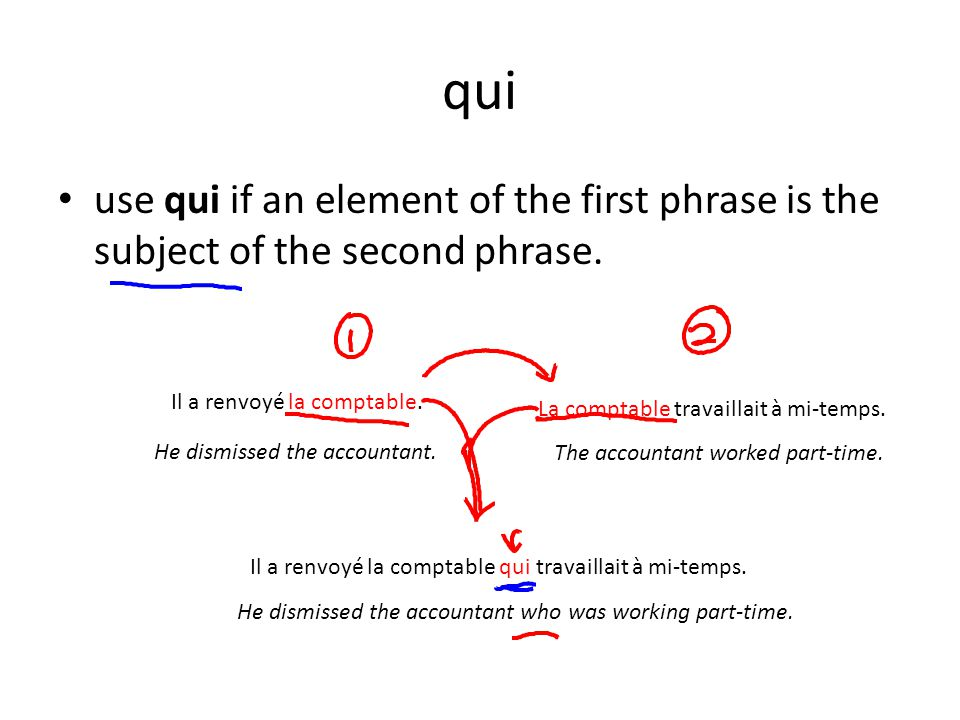 qui use qui if an element of the first phrase is the subject of the second phrase. Il a renvoyé la comptable.