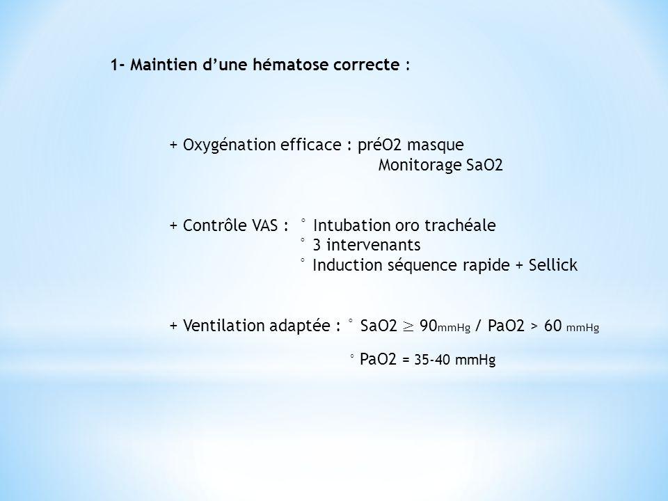 1- Maintien d'une hématose correcte :