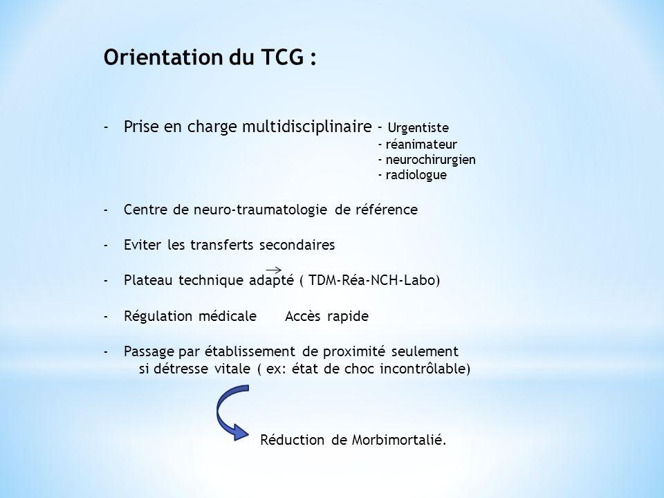 Orientation du TCG : Prise en charge multidisciplinaire - Urgentiste