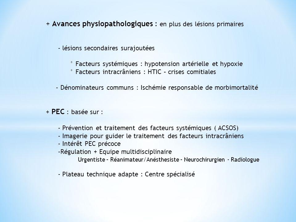 + Avances physiopathologiques : en plus des lésions primaires
