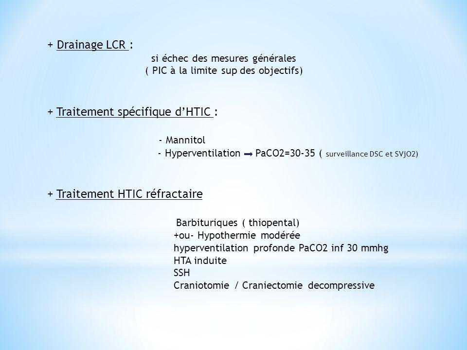 + Traitement spécifique d'HTIC : - Mannitol