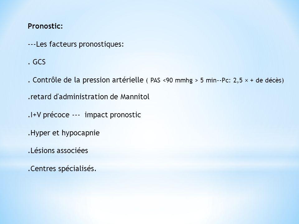 Pronostic: ---Les facteurs pronostiques: . GCS. . Contrôle de la pression artérielle ( PAS <90 mmhg > 5 min--Pc: 2,5 × + de décès)