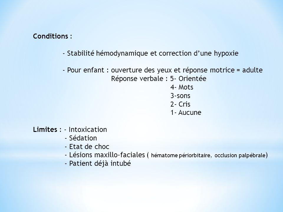 Conditions : - Stabilité hémodynamique et correction d'une hypoxie. - Pour enfant : ouverture des yeux et réponse motrice = adulte.