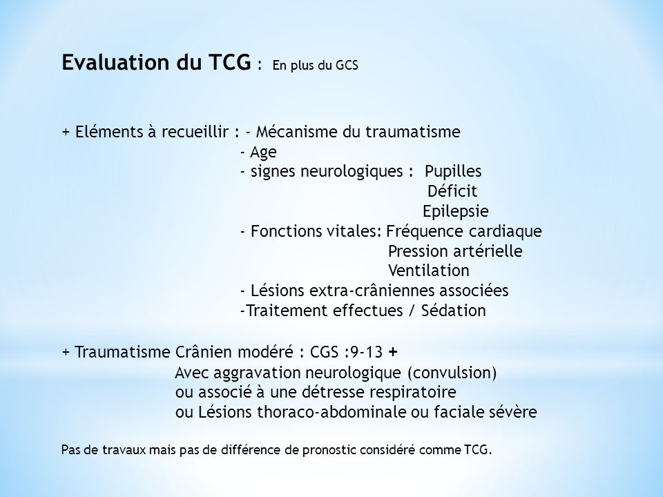 Evaluation du TCG : En plus du GCS