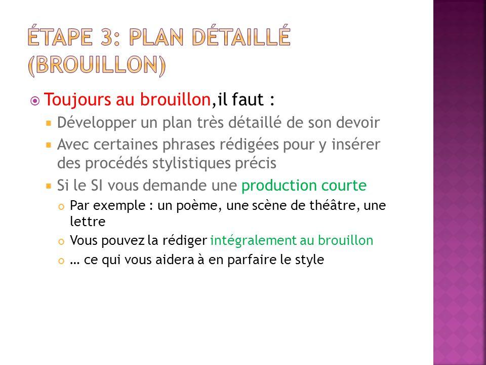 Étape 3: PLAN DÉTAILLÉ (BROUILLON)