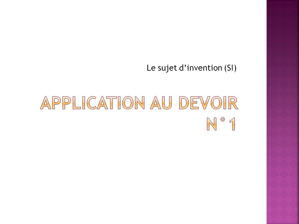 APPLICATION AU DEVOIR N°1