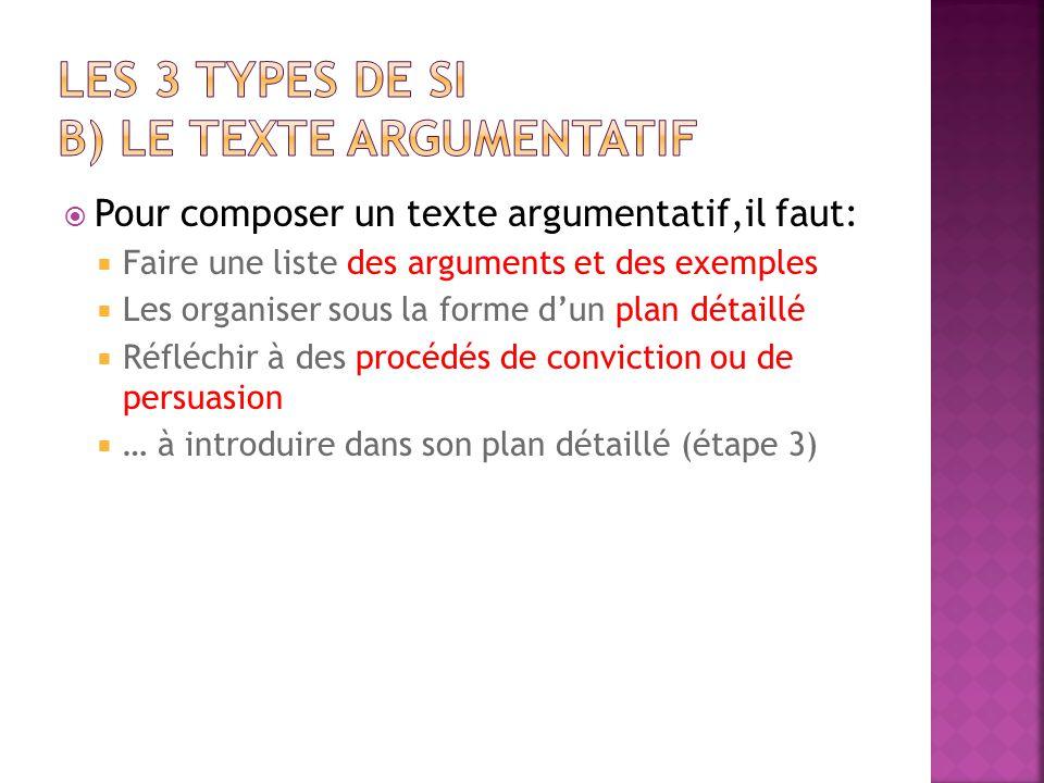 LES 3 types de SI B) Le texte argumentatif