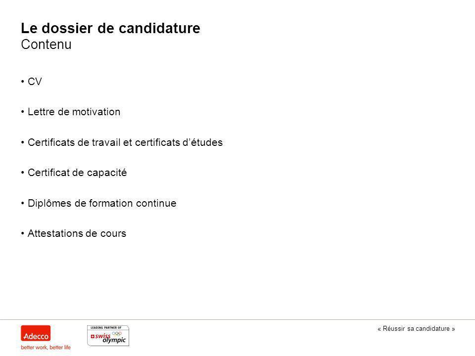 Le dossier de candidature Contenu