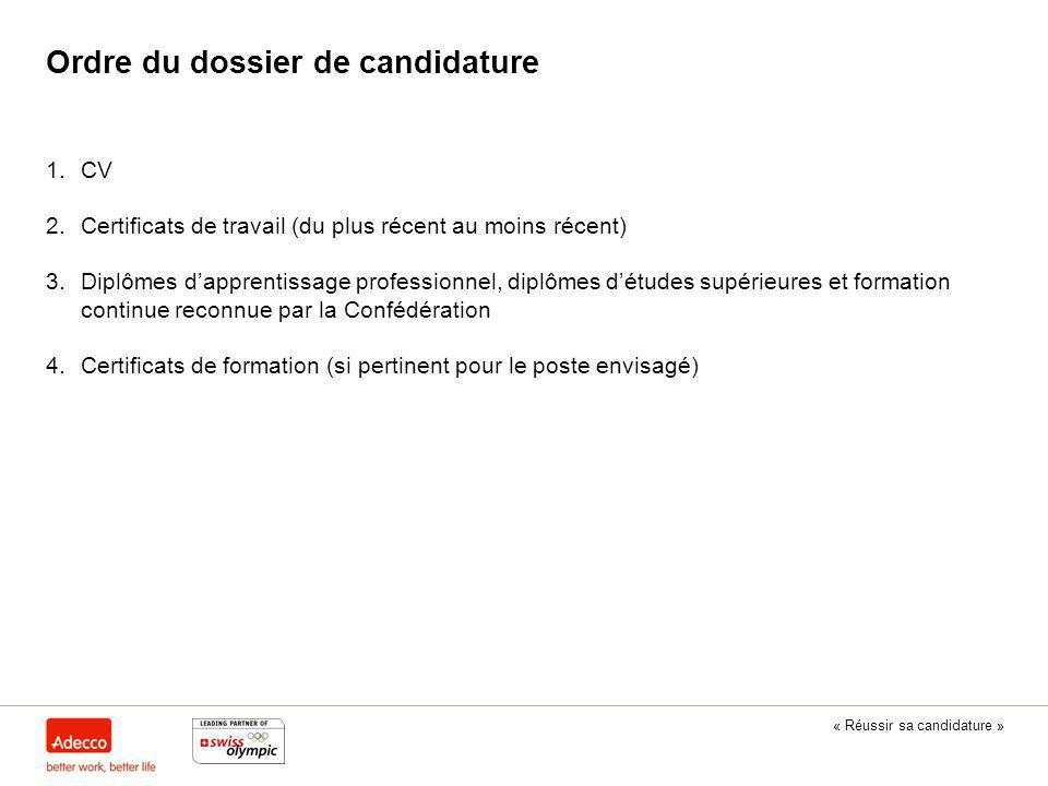 u00ab r u00e9ussir sa candidature  u00bb  u00ab swiss olympic athlete career programme  u00bb en coop u00e9ration avec adecco