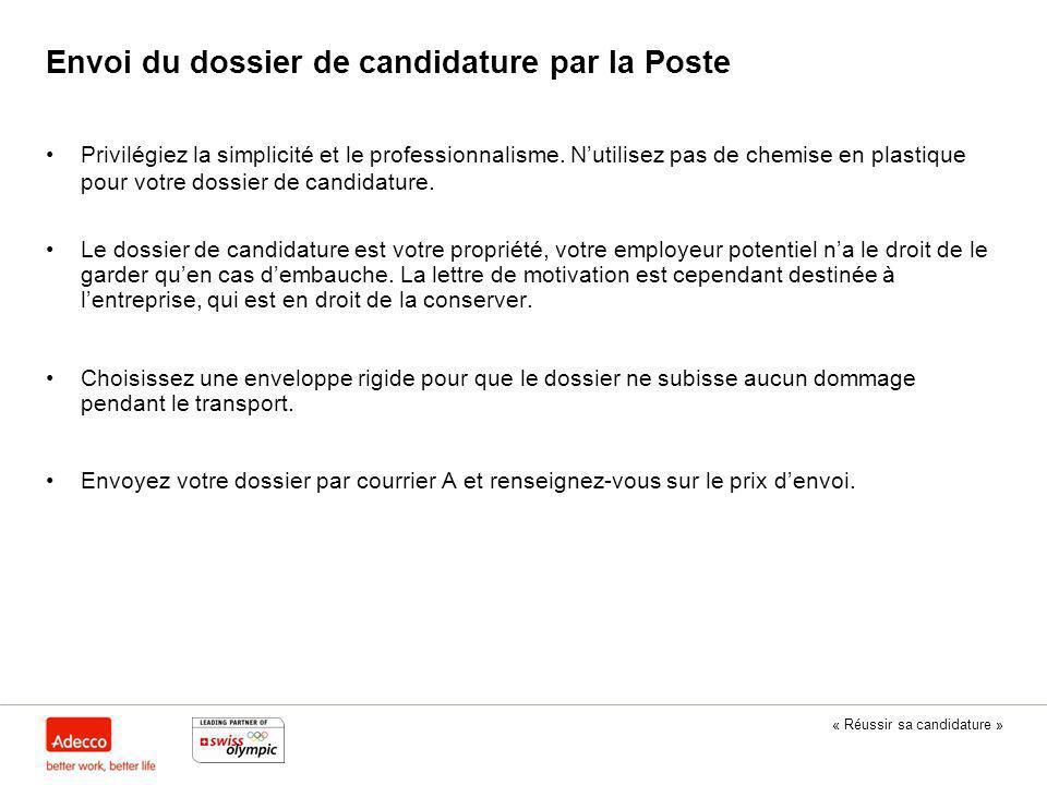Envoi du dossier de candidature par la Poste