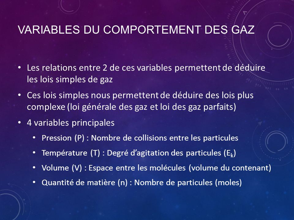 Variables du comportement des gaZ