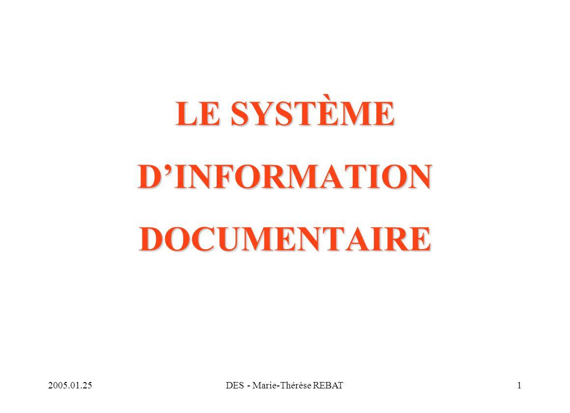 LE SYSTÈME D'INFORMATION DOCUMENTAIRE