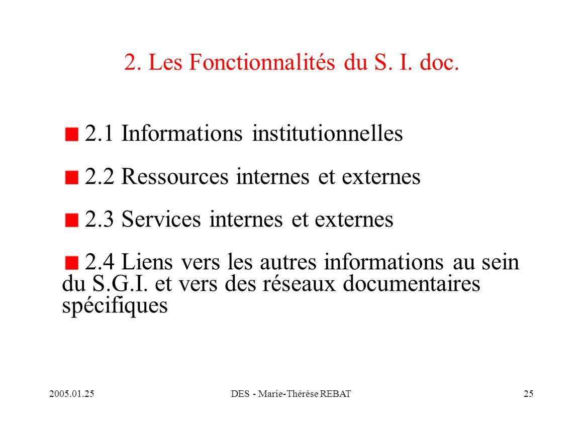 2. Les Fonctionnalités du S. I. doc.