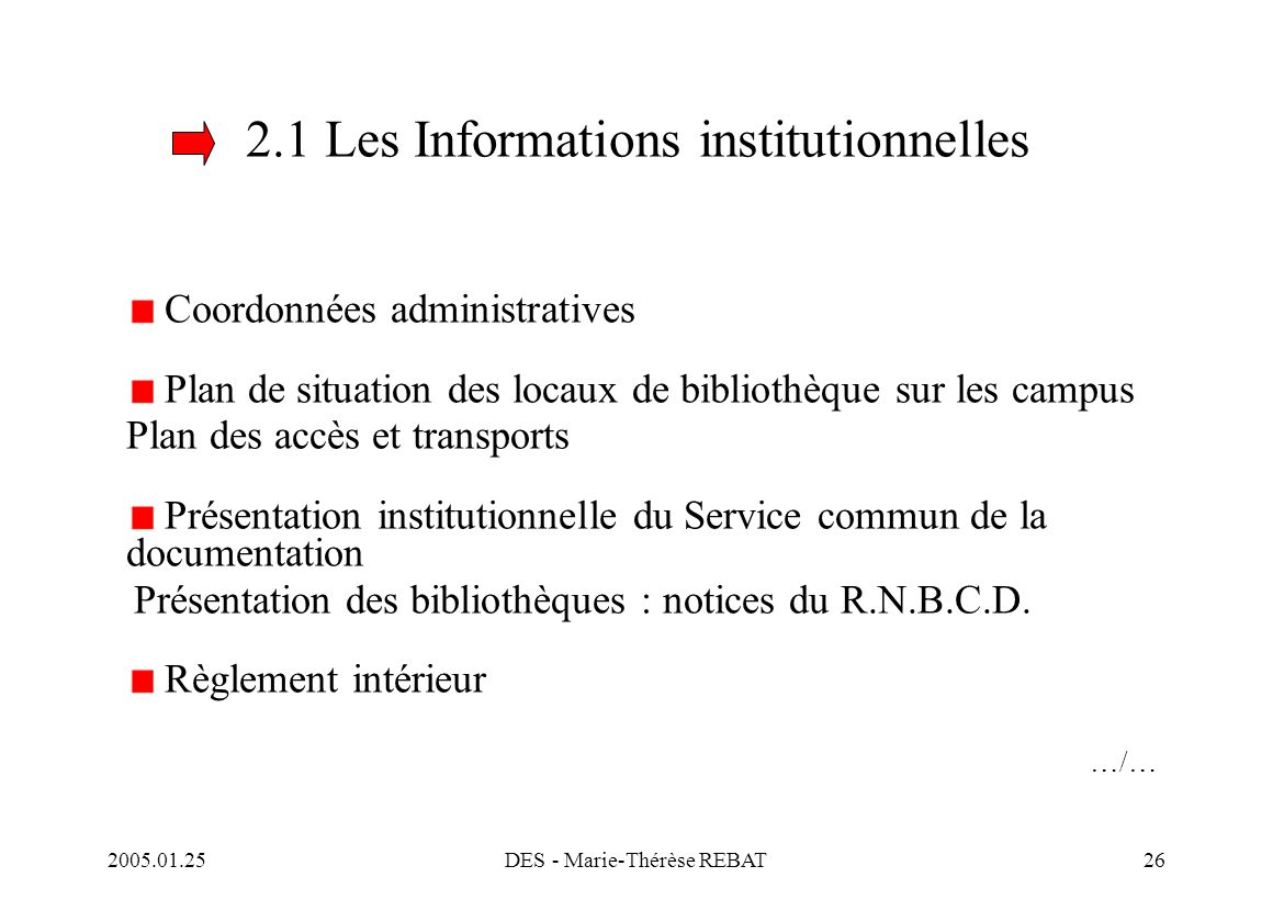 2.1 Les Informations institutionnelles