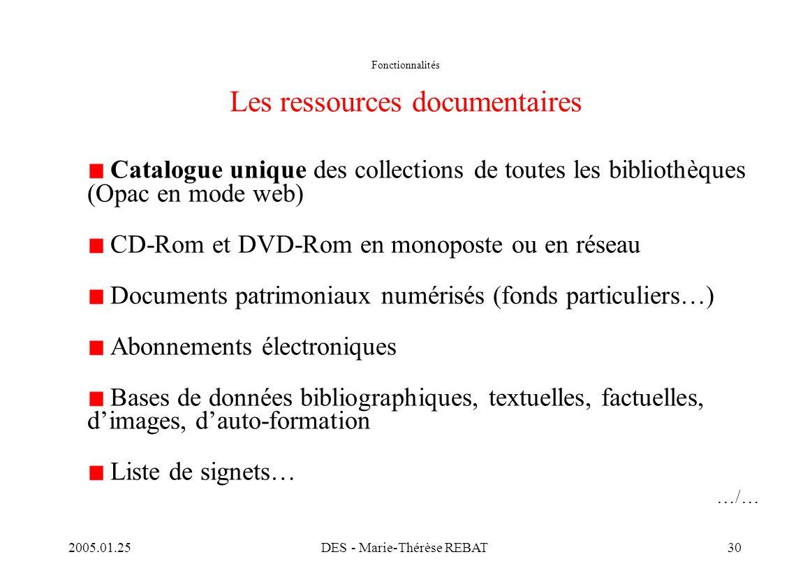 Fonctionnalités Les ressources documentaires