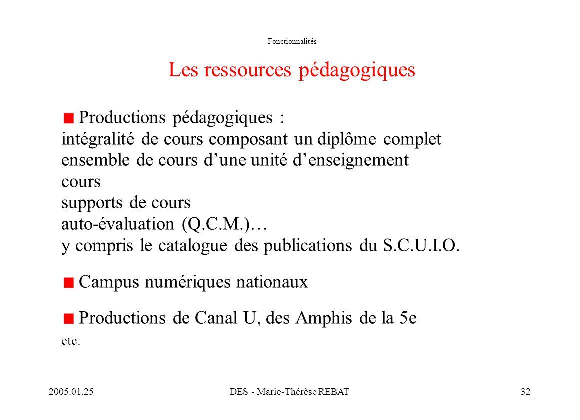 Fonctionnalités Les ressources pédagogiques