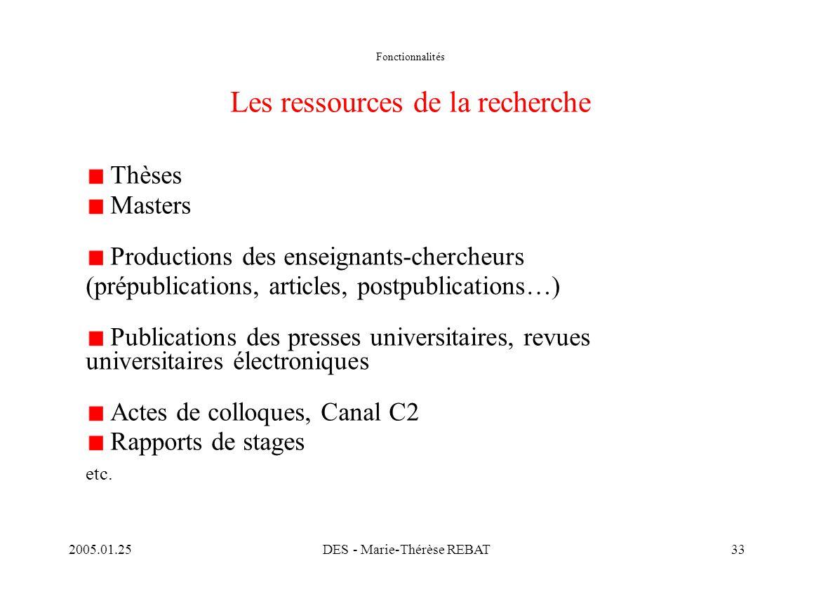 Fonctionnalités Les ressources de la recherche