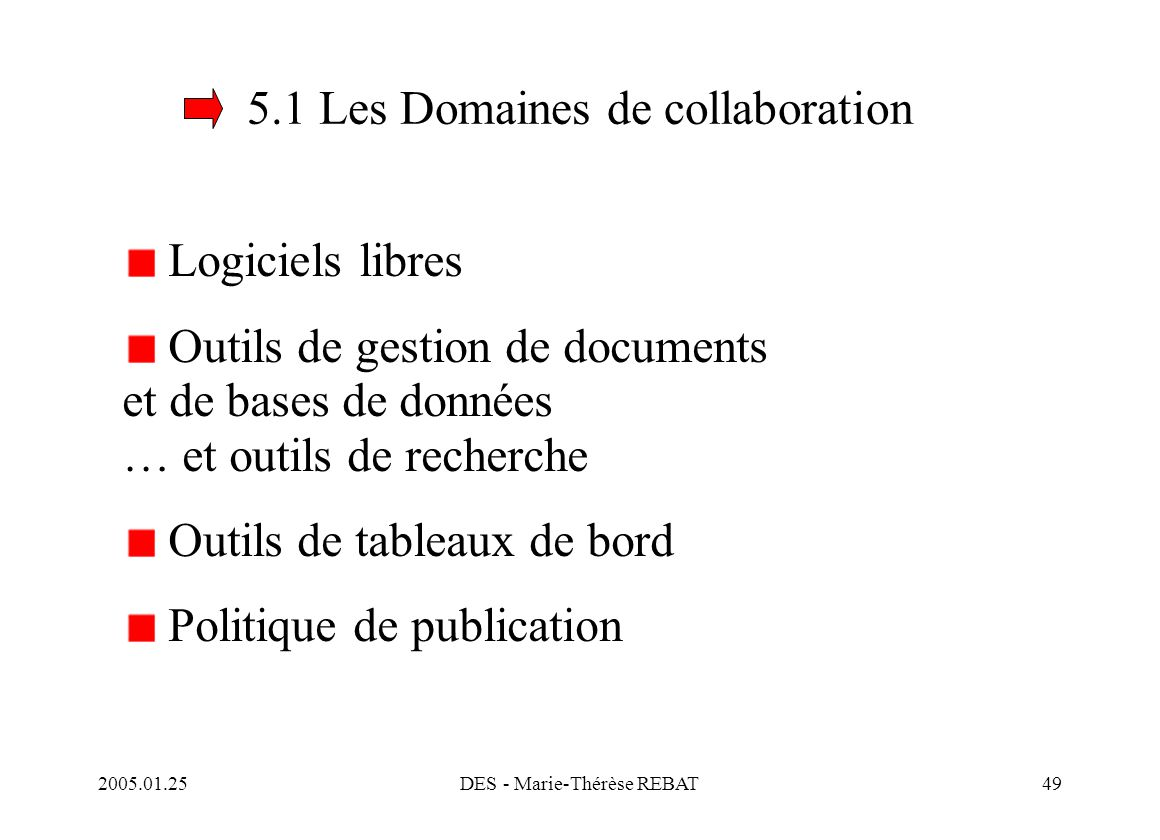 5.1 Les Domaines de collaboration