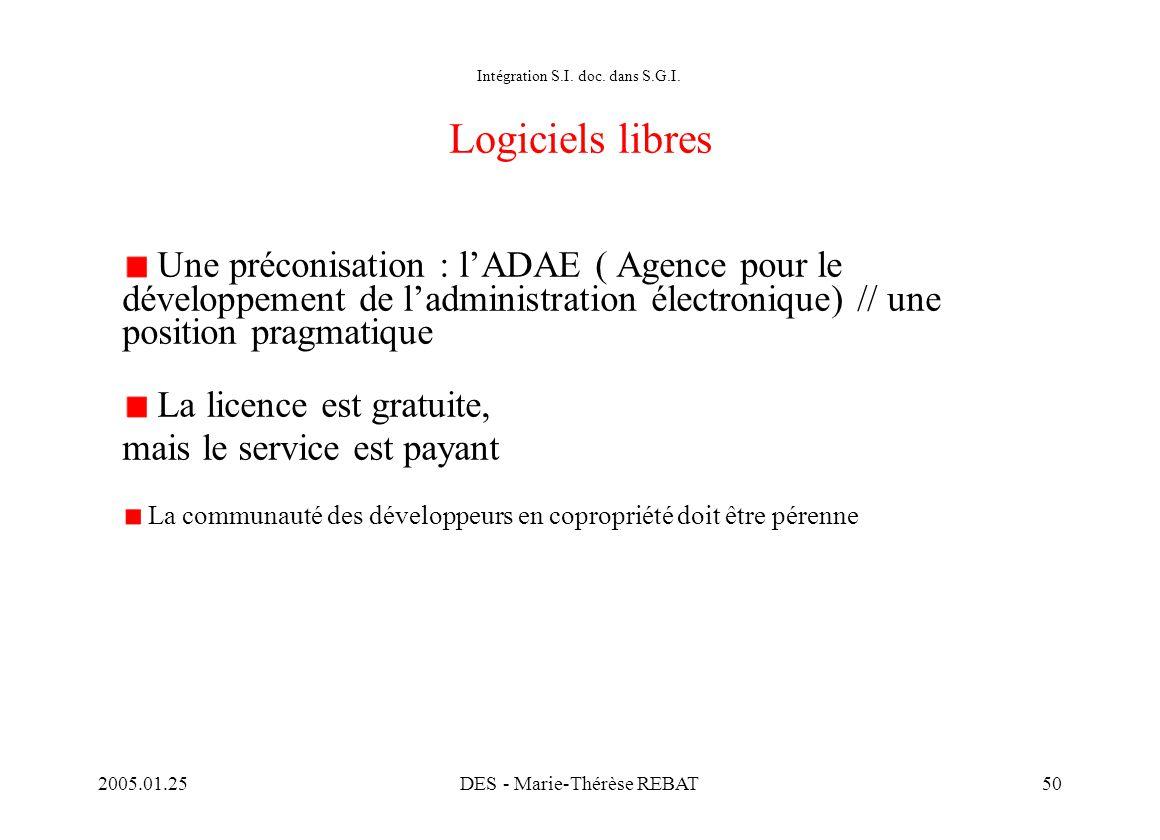 Intégration S.I. doc. dans S.G.I. Logiciels libres