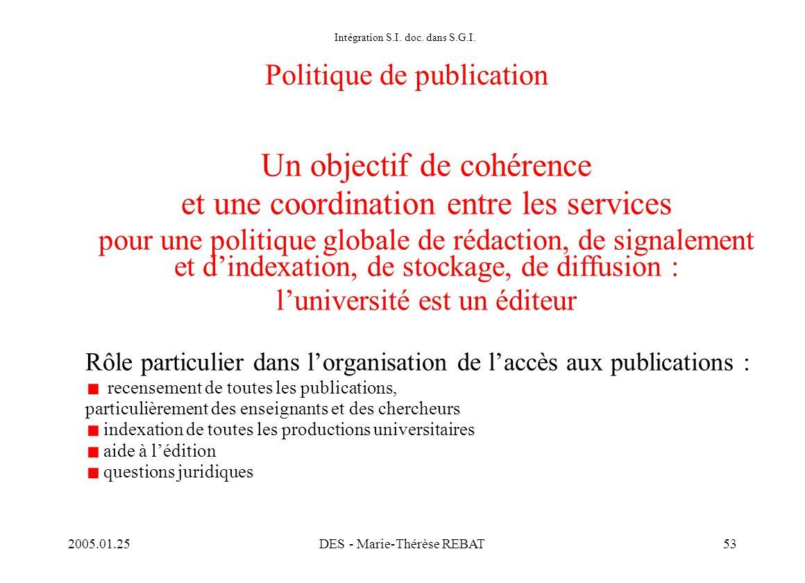 Intégration S.I. doc. dans S.G.I. Politique de publication