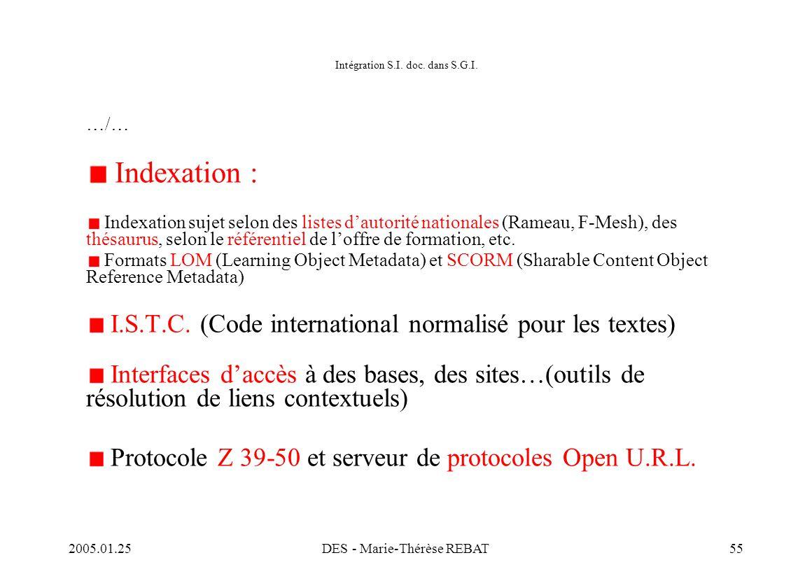 Intégration S.I. doc. dans S.G.I.