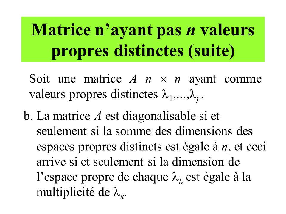 Matrice n'ayant pas n valeurs propres distinctes (suite)