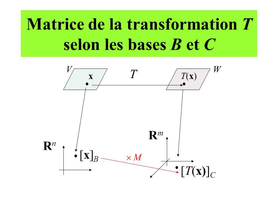 Matrice de la transformation T selon les bases B et C