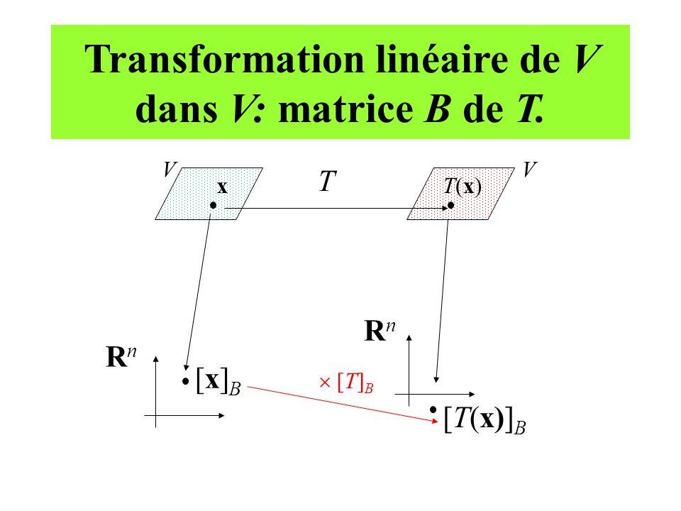 Transformation linéaire de V dans V: matrice B de T.