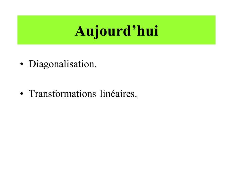Aujourd'hui Diagonalisation. Transformations linéaires.