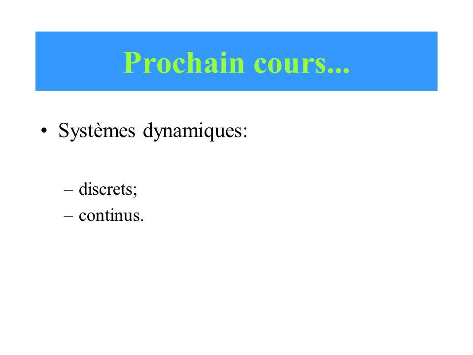 Prochain cours... Systèmes dynamiques: discrets; continus.