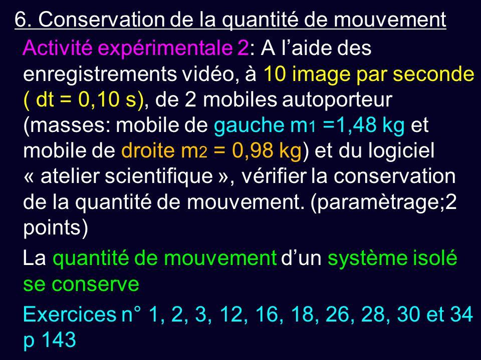 6. Conservation de la quantité de mouvement