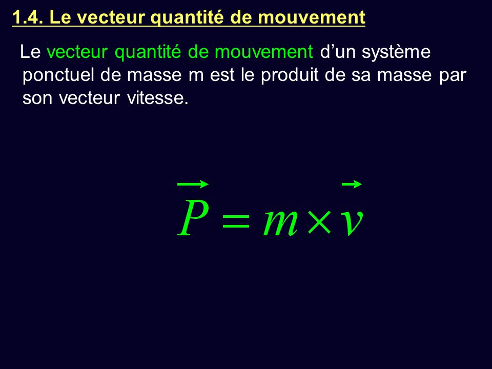 1.4. Le vecteur quantité de mouvement