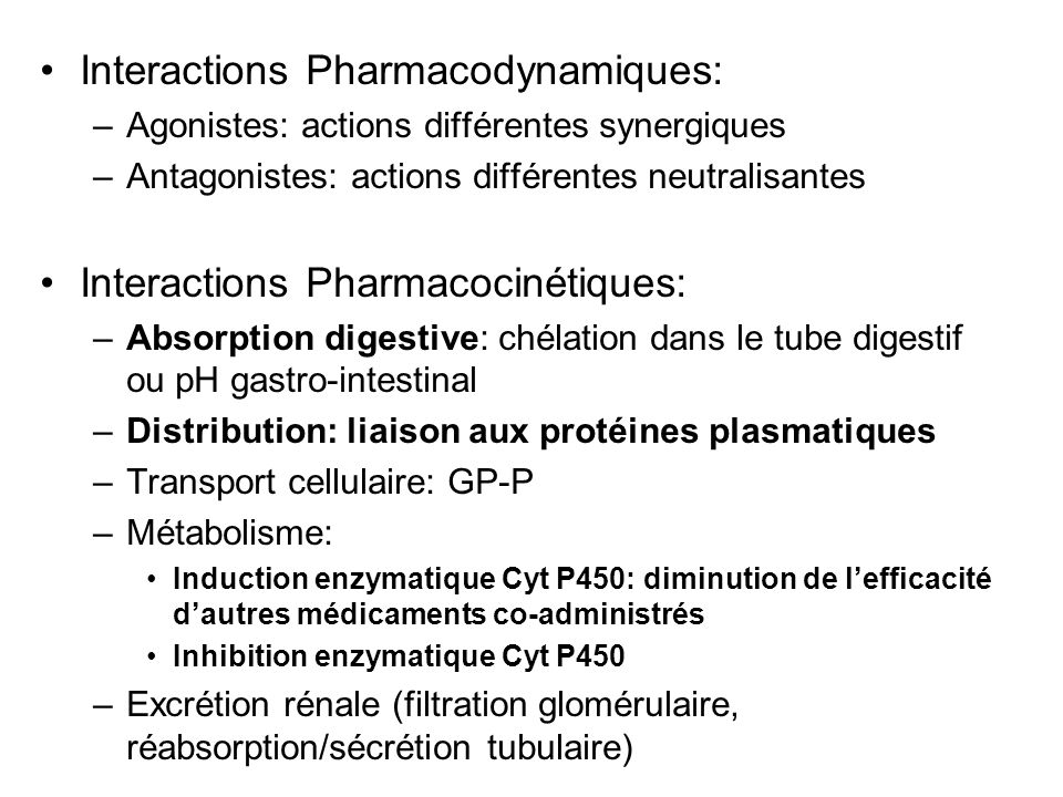 Interactions Pharmacodynamiques: