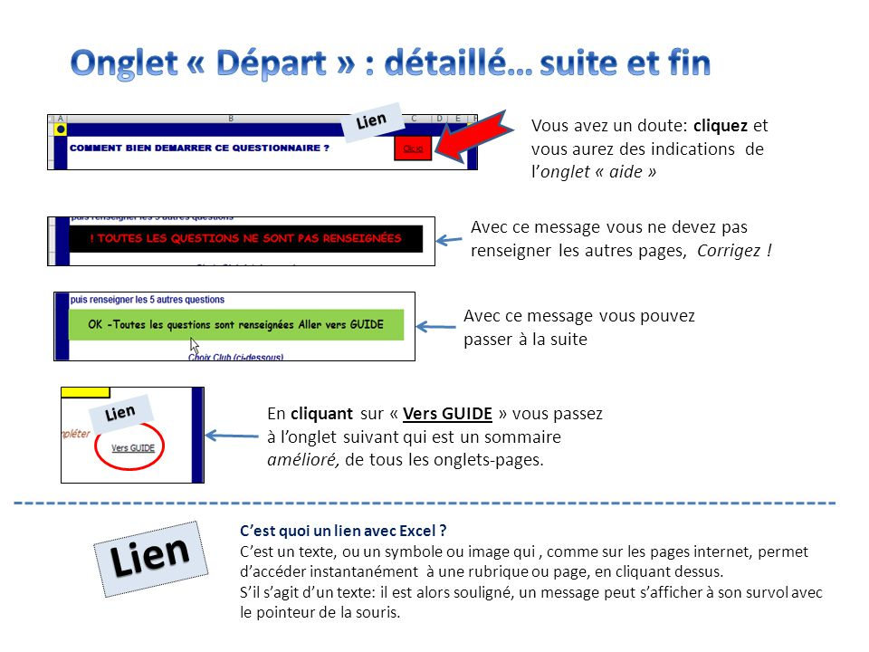 Lien Onglet « Départ » : détaillé… suite et fin