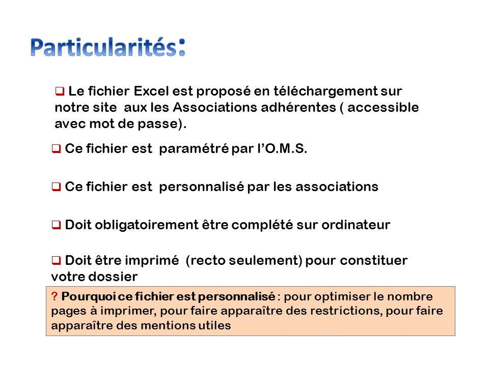 Particularités: Le fichier Excel est proposé en téléchargement sur notre site aux les Associations adhérentes ( accessible avec mot de passe).
