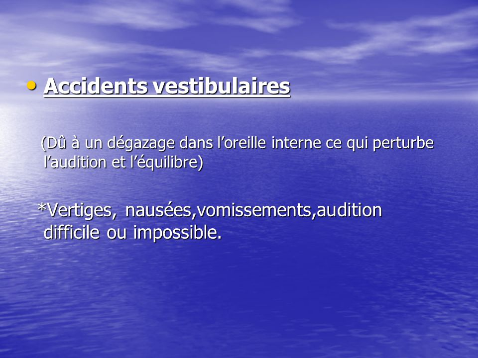 Accidents vestibulaires