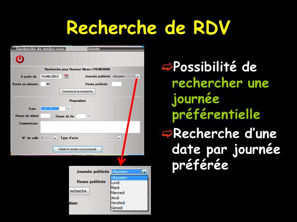 Recherche de RDV Possibilité de rechercher une journée préférentielle