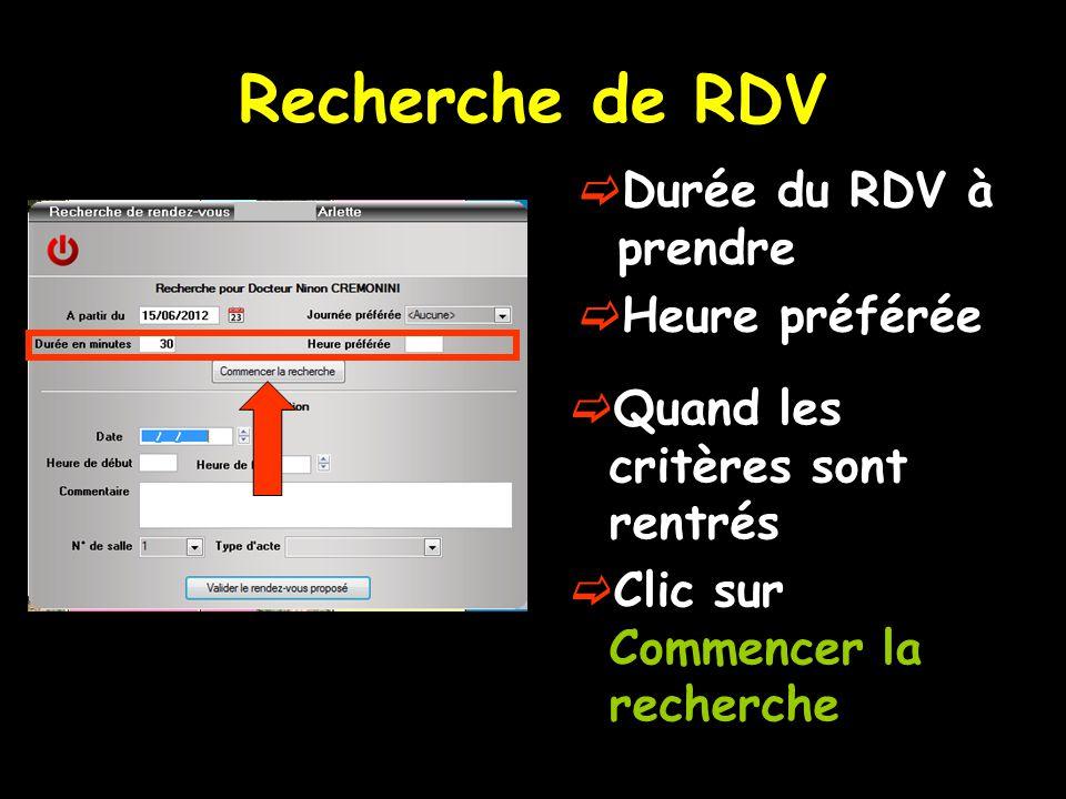 Recherche de RDV Durée du RDV à prendre Heure préférée