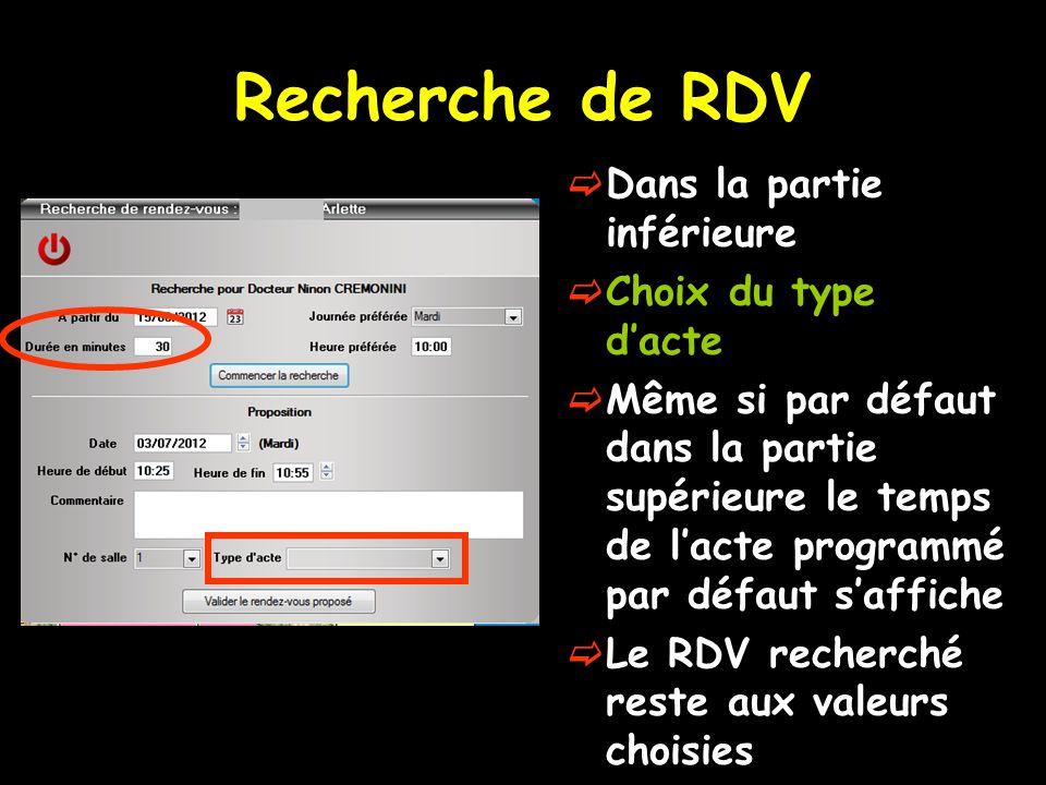 Recherche de RDV Dans la partie inférieure Choix du type d'acte