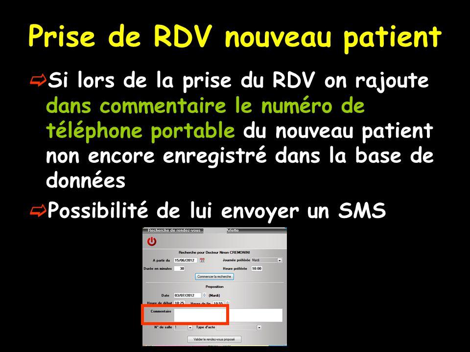Prise de RDV nouveau patient