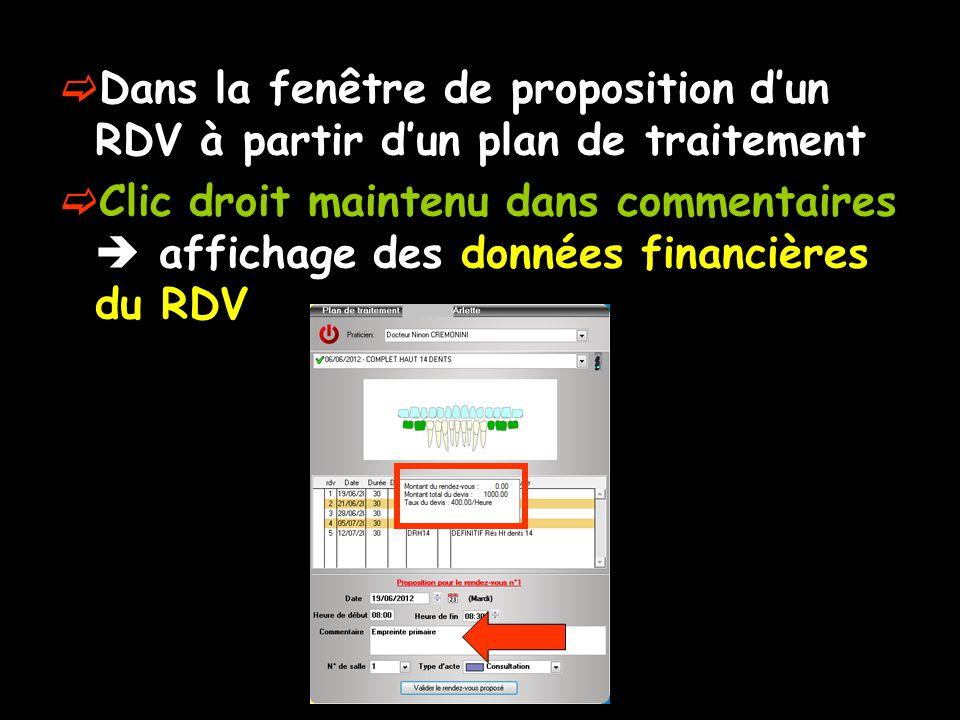 Dans la fenêtre de proposition d'un RDV à partir d'un plan de traitement
