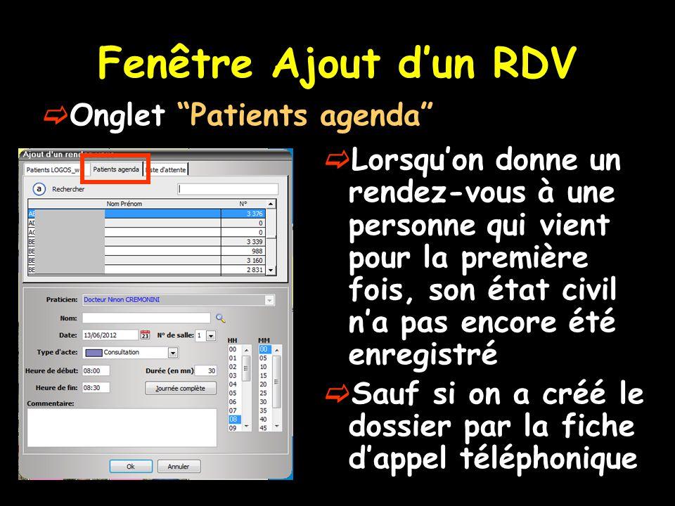 Fenêtre Ajout d'un RDV Onglet Patients agenda