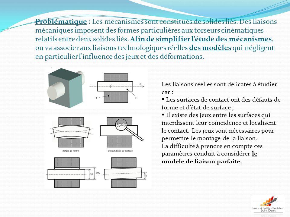 Problématique : Les mécanismes sont constitués de solides liés