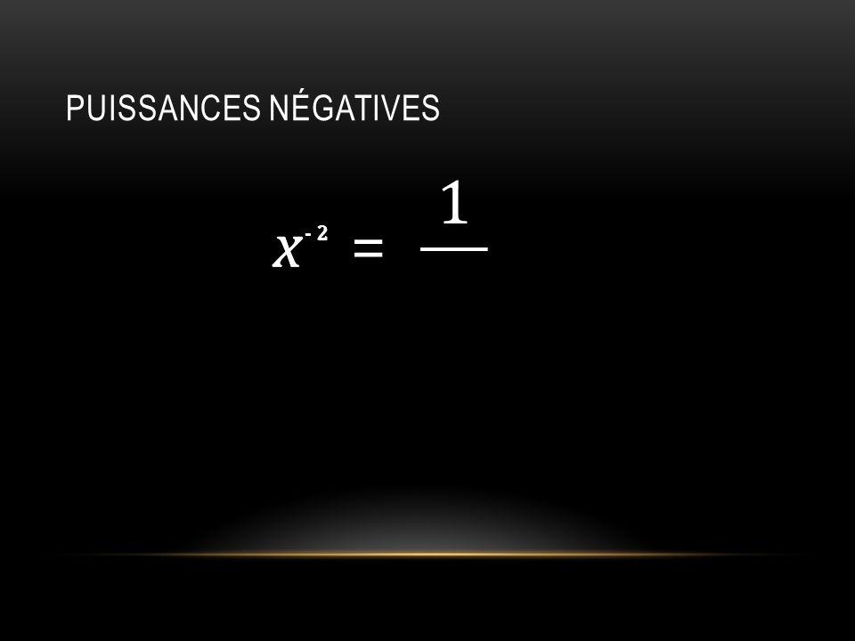 Puissances négatives 1 x 2 - x 2 = -