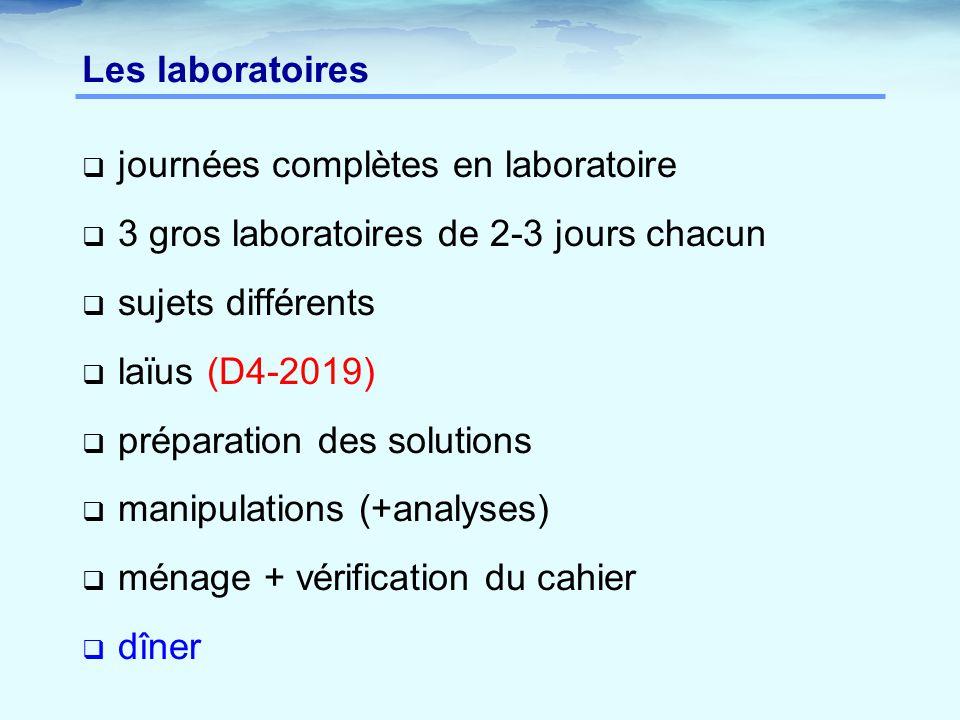 Les laboratoires journées complètes en laboratoire. 3 gros laboratoires de 2-3 jours chacun. sujets différents.