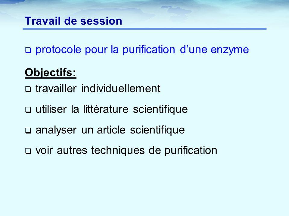 Travail de session protocole pour la purification d'une enzyme. Objectifs: travailler individuellement.
