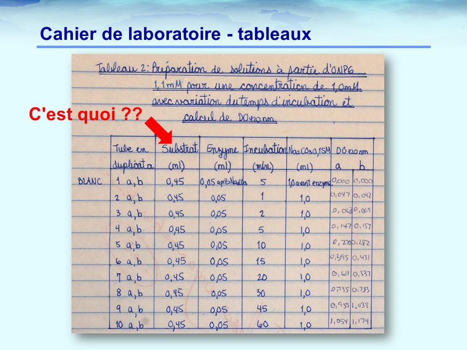 Cahier de laboratoire - tableaux
